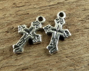Sterling Silver Charms - Tiny Little Cross Charms- One Pair - ctlc
