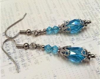 Aqua Crystal Earrings, Antique Silver Filigree Earring, Juliet Earring, Vintage Wedding, March Birthstone, Ren Faire, Mothers Day Gift, Aqua