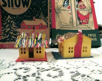 Two Little Houses/ Vintage Mini Celluloid Houses/ Marbelized Celluloid Roofs/1930's/Early Plastic Houses/Craft/ Art Supply