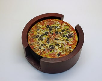 Supreme Pizza Coaster Set of 5 with Wood Holder