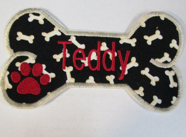 dog bone - name patch for pet  bone shape  - single personalized dog bone name tag