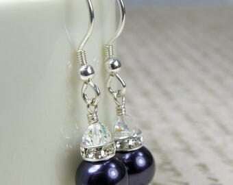Dark Purple Pearl Earrings, Grape Swarovski Gift, Eggplant Bridesmaid Wedding Jewelry, Sterling Silver, Drop Bridal Party Accessory