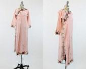 30s Dress Asian Cheongsam XS / 1930s Vintage Embroidered Dress Silk / Chinese Qipao Dress