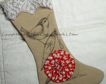 Original Pen Ink Illustration on Fabric Christmas Stocking by Michelle Palmer Wren Sparrow Bird Christmas Ornament Vintage Yoyo Circle