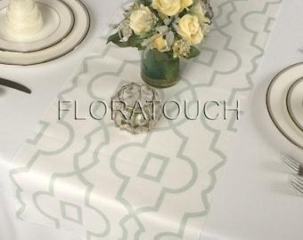 Bordeaux White and Artichoke Green Damask Table Runner Wedding Table Runner
