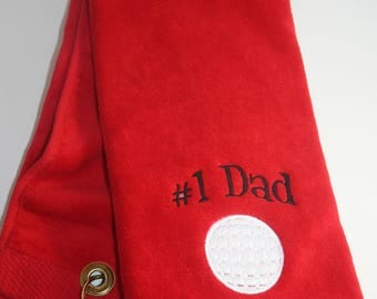 Embroidered Personalized HEMMED Golf Towel with Grommet- #1 Dad or #1 Papa with Golf Ball