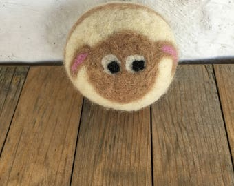 Tan Sheep or Lamb , Felted Wool Toy Ball or Sculpture , mini