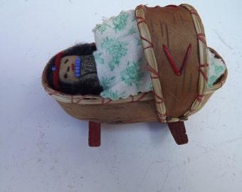 Vintage Florida Seminole Indian Baby Doll in Cradle