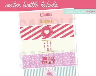 Valentine's Day Printable, Valentine Water Bottle Labels Printable, Drink Wrappers, Instant Download, Love, Pink and Purple, Hearts, Be Mine