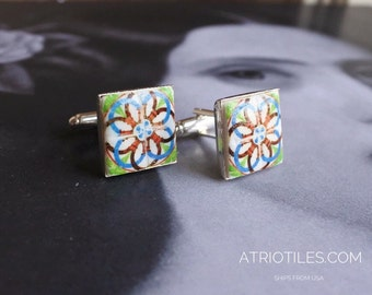 Portugal Antique Azulejos Tile Replica CUFF LINKS,  Ilhavo,  Green Red Blue - 17mm  Gift Box included 793
