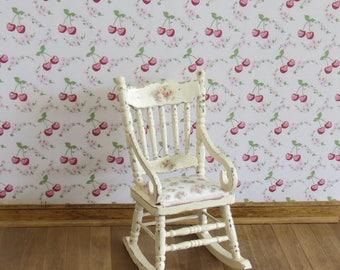 Dollhouse Miniature Shabby Chic Wallpaper Kitchen Cherries 1:12