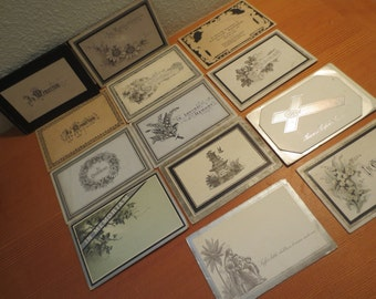 Lot of 16 ANTIQUE Vintage Death Mourning Cards Dates 1877 to 1908, Youngest age 3 mo to 94 Years Collectible Death Theme