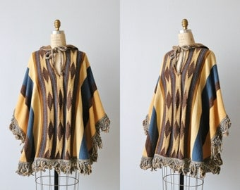 Vintage 1970s Bohemian Cape Poncho with Hood / Fringe / Pullover Cape / The Southwest