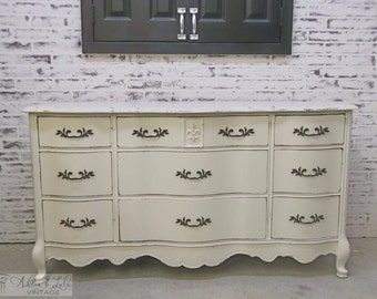 Triple Dresser, Bassett,  White French Provincial Style - Chic DR103 Shabby Farmhouse Chic, Chest, Nursery Furniture