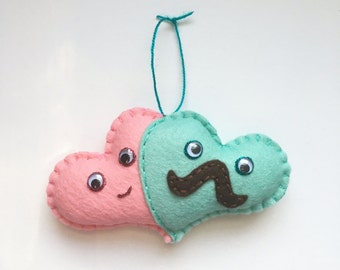 Two Hearts as one plushie, cute heart plush, gift under 20, engagement his and hers mini felt heart, mint love, mustache heart, HibouDesigns