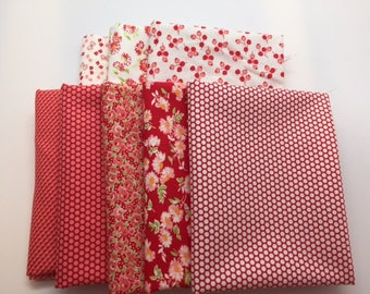 SUMMER SALE - Fat Quarter Bundle (8) - Little Ruby in Red and Cream - Bonnie and Camille for Moda Fabrics