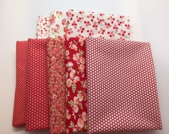 SPRING SALE - Fat Quarter Bundle (8) - Little Ruby in Red and Cream - Bonnie and Camille for Moda Fabrics