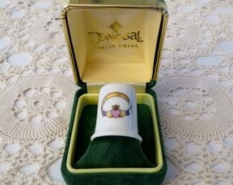 Irish Claddagh Ring China Thimble - Donegal Parian China