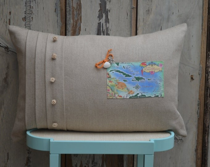 Caribbean Islands Postcard Pillow (available in 4 styles)