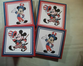 Mickey Mouse Patriotic Mini Greeting Cards with envelopes
