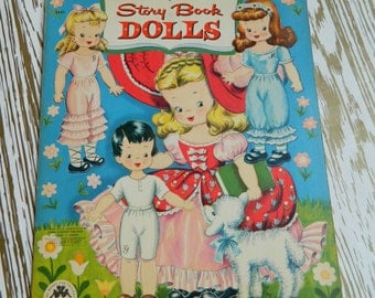 Vintage 1950's Merrill #3461 - STORY BOOK DOLLS - Paper Doll Book - uncut