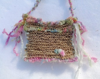 custom listing for jena - spring flower fairy - rustic hand knit hemp treasure bag