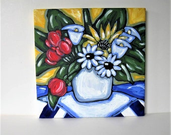 "Original Acrylic floral Painting on canvas, 12"" x 12"",  French country decor, red, blue, sunflowers, daisies, tulips, wall decor, gift idea"