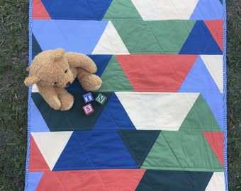Patchwork Cot / Throw Quilt - Little Ted's Quilt