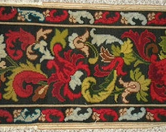 Antique Needlepoint French Art Nouveau Tapestry