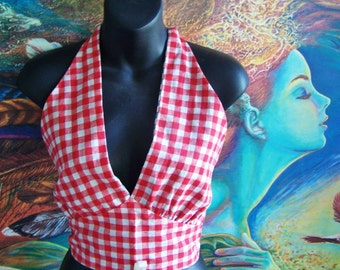 50s Halter Top, Gingham Halter top, 1950s Halter Top, Rockabilly, Red + Blue halter, Reversible Top, size S / M,