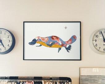 Platypus- limited edition print from original 13 x1 9, 11 x 14, 8 x 10, 5x 7