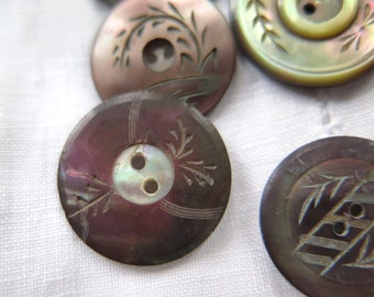 Smokey MOP Button Collection of 5 with Carved/Etched Vines Mother of Pearl/Shell Circa Late 1800's