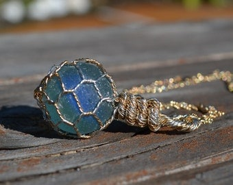 English Sea Glass Marble Japanese Fishing Float Pendant/Necklace 14 Karat GF & .925 Sterling Silver - Blue with Royal Blue Cats Eye Marble