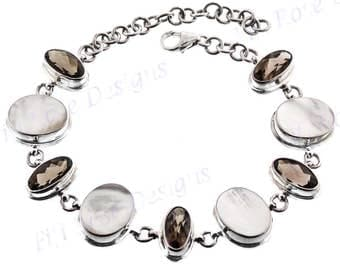10ct Smokey Quartz Mother Of Pearl Shell 925 Sterling Silver Bracelet