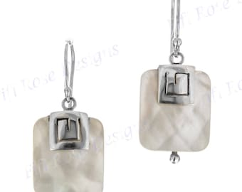 """5/8"""" White Mother Of Pearl Shell 925 Sterling Silver Earrings"""