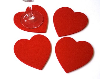 Coaster Wedding Favors Felt Heart Coasters Romantic Gifts in 5MM Thick Merino Wool Felt