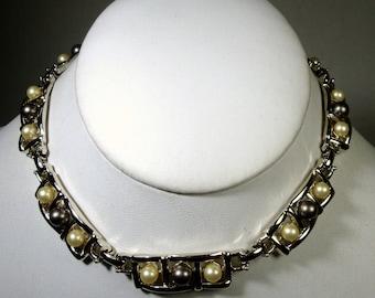 SALE SET, Gray, White Pearl Necklace n Bracelet, Shiny Silver Links, ATOMIC,  Wristlet n Choker Demi Parure, Mid Century Space Elegance