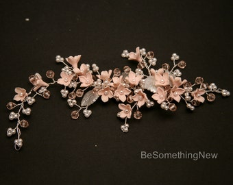 Wedding Beaded Hair Vine of Pink Handmade Flowers, Tiny Pearls and Pink Crystals, Wired Hair Accessory Bridal Headpiece