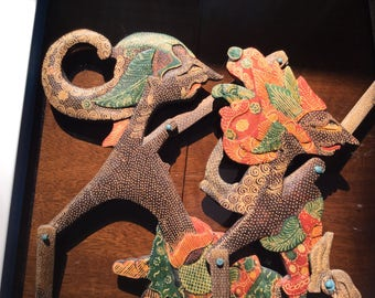 Pair of Antique Indonesian Wayang Kulit Shadow Puppets - Set of 2 - Arjuna and Sinto