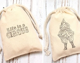 Vintage Circus Muslin Favor Bags Set of 12 - mix and match - Baby Shower favors, birthday favors, weddings