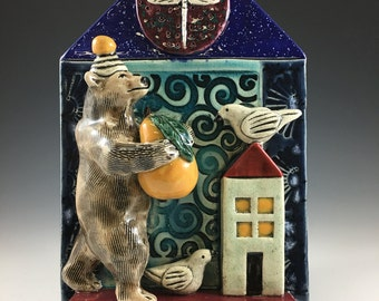 Ceramic Art Tile, Bear with Pear on Houseboat with Birds