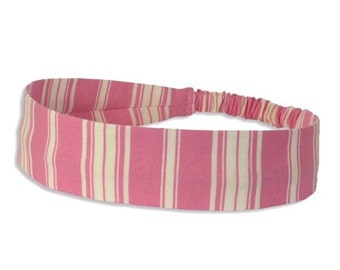 "40% off Fabric Headband - Pink Ticking Stripe - Pick your size - fit toddlers to adults - 1-1/2"" wide"