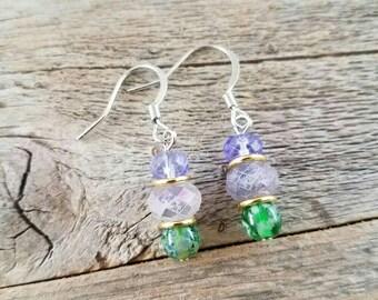 Purple jewelry, green jewelry, handmade earrings, handmade jewelry, beaded earrings, beaded jewelry, blue jewelry, blue earrings, spring