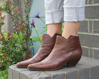 Vintage Brown Leather Ankle Boots Via Spiga Booties
