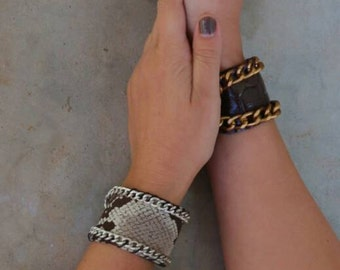 Leather Cuff with Chain. Statement Wide Cuff Leather Bracelet. Boho Minimal Bracelet. Womens Unique Gift. Gift for Her.