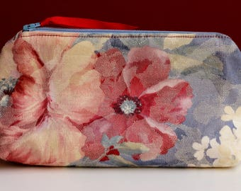 Blue and Rose Zippered Ditty Bag