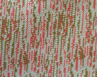 Salmon, Tan, and White Print Double Knit Polyester Fabric 3.33 Yards