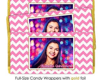 50 Quinceneara Candy Wrappers, Pink Chevron with Gold Glitter Print, Candy Wrappers, Sweet 16 Birthday, fit over 1.55 oz chocolate bars