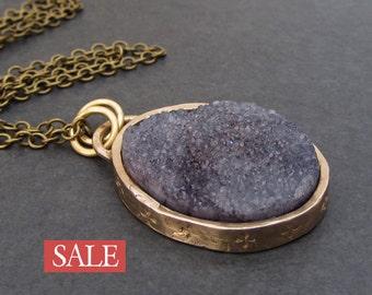 SALE - 50% off / Druzy pendant necklace / natural agate druzy necklace / rustic pendant / stone necklace / bronze necklace / half price