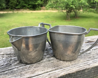 Vintage Pewter Creamer and Sugar Set--Marked White Hand Made Pewter--Art Deco Style--Tarnished Aged Patina--Hostess Gift--Succulent Planters